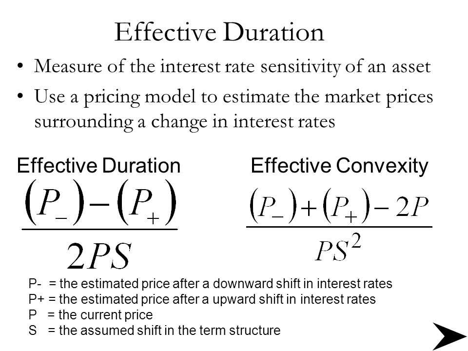 Effective Duration Measure of the interest rate sensitivity of an asset Use a pricing model to estimate the market prices surrounding a change in inte