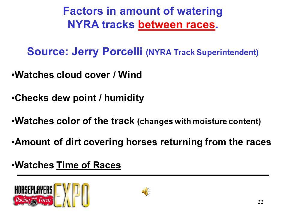 22 Factors in amount of watering NYRA tracks between races.