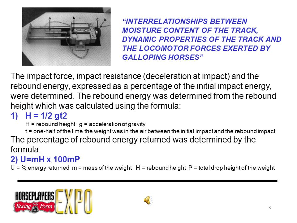 5 The impact force, impact resistance (deceleration at impact) and the rebound energy, expressed as a percentage of the initial impact energy, were determined.