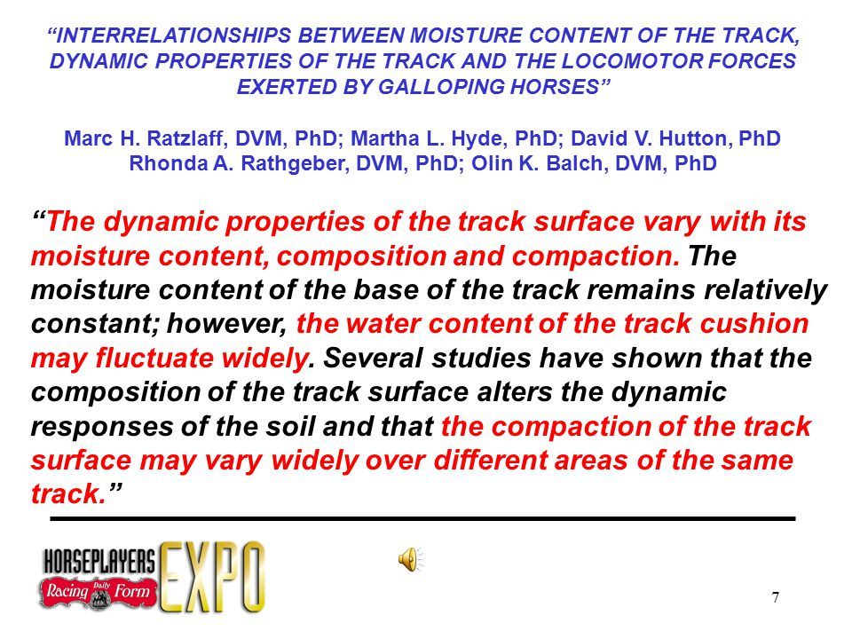 7 INTERRELATIONSHIPS BETWEEN MOISTURE CONTENT OF THE TRACK, DYNAMIC PROPERTIES OF THE TRACK AND THE LOCOMOTOR FORCES EXERTED BY GALLOPING HORSES Marc H.