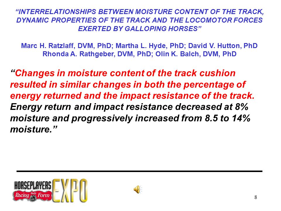 8 INTERRELATIONSHIPS BETWEEN MOISTURE CONTENT OF THE TRACK, DYNAMIC PROPERTIES OF THE TRACK AND THE LOCOMOTOR FORCES EXERTED BY GALLOPING HORSES Marc H.