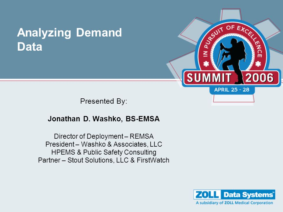 Analyzing Demand Data Presented By: Jonathan D.