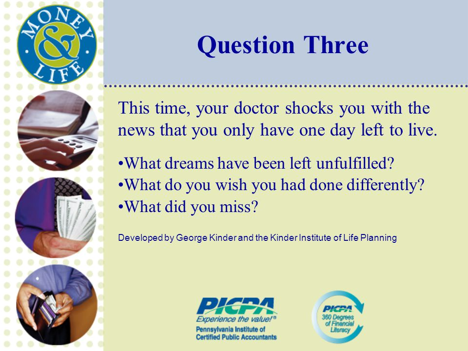 Question Three This time, your doctor shocks you with the news that you only have one day left to live.