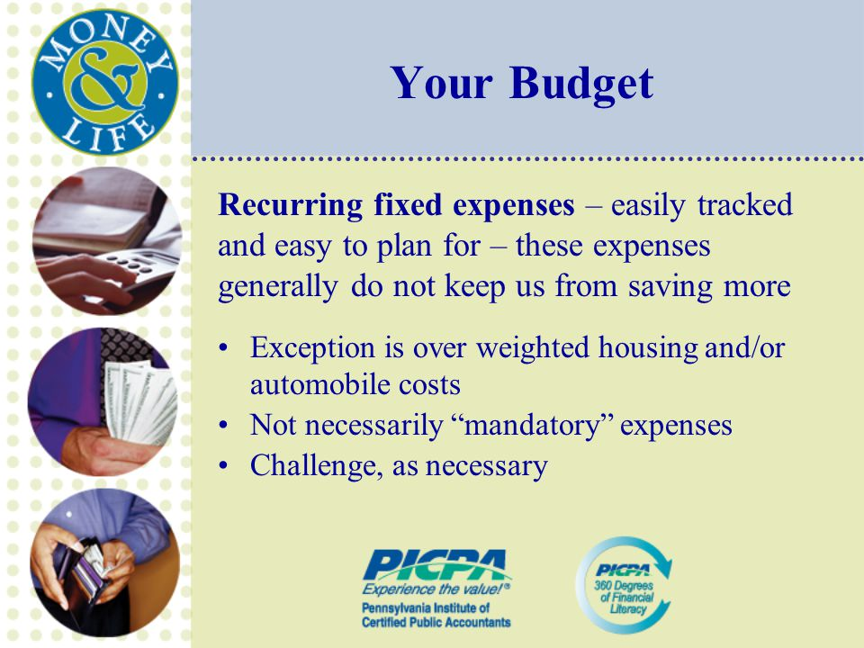 Your Budget Recurring fixed expenses – easily tracked and easy to plan for – these expenses generally do not keep us from saving more Exception is over weighted housing and/or automobile costs Not necessarily mandatory expenses Challenge, as necessary
