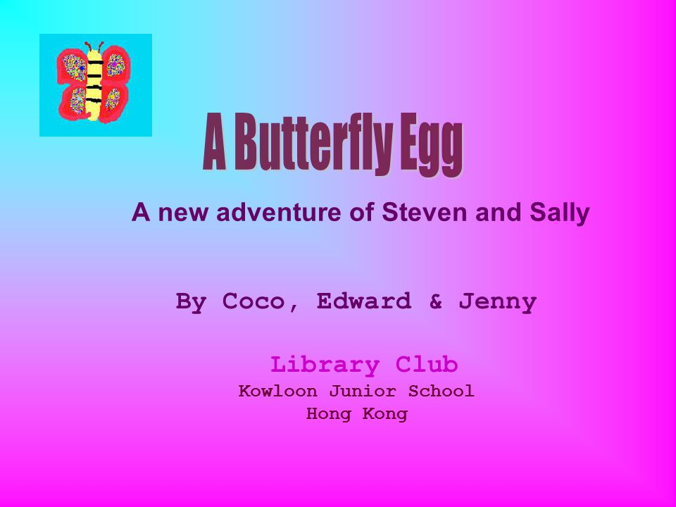 A new adventure of Steven and Sally By Coco, Edward & Jenny Library Club Kowloon Junior School Hong Kong