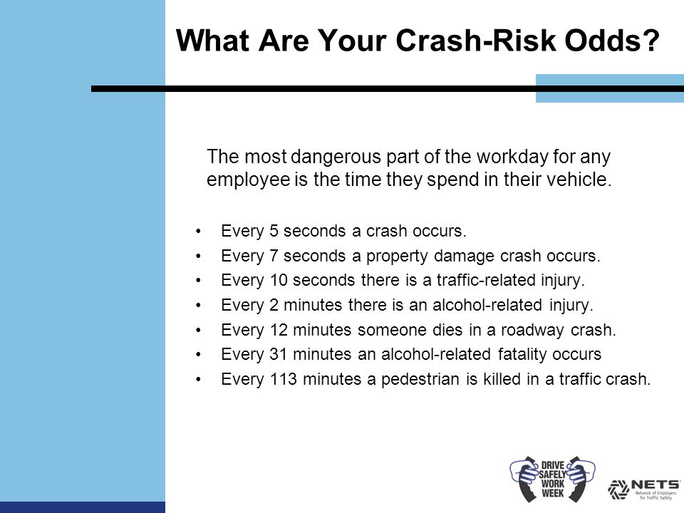 What Are Your Crash-Risk Odds. Every 5 seconds a crash occurs.