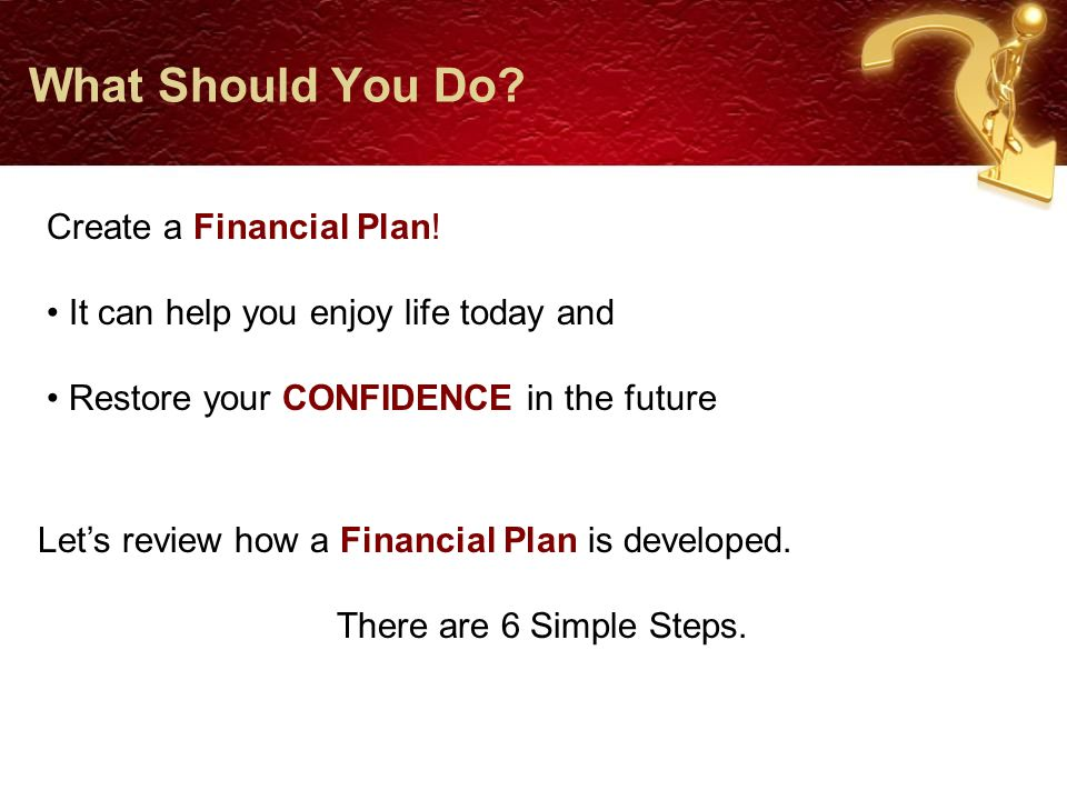 What Should You Do. Let's review how a Financial Plan is developed.