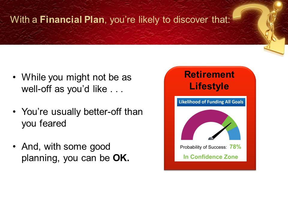 With a Financial Plan, you're likely to discover that: Retirement Lifestyle While you might not be as well-off as you'd like...