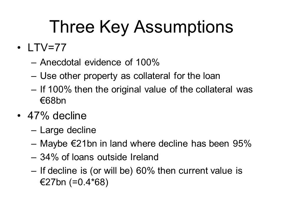 Three Key Assumptions LTV=77 –Anecdotal evidence of 100% –Use other property as collateral for the loan –If 100% then the original value of the collateral was €68bn 47% decline –Large decline –Maybe €21bn in land where decline has been 95% –34% of loans outside Ireland –If decline is (or will be) 60% then current value is €27bn (=0.4*68)