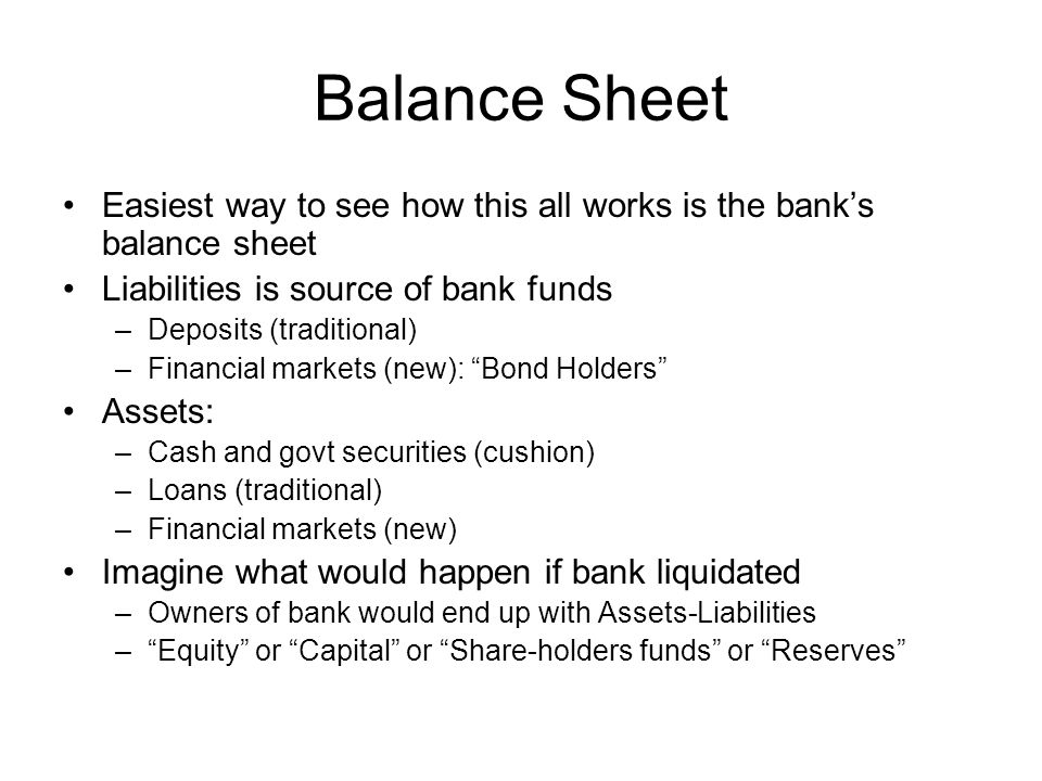 Balance Sheet Easiest way to see how this all works is the bank's balance sheet Liabilities is source of bank funds –Deposits (traditional) –Financial markets (new): Bond Holders Assets: –Cash and govt securities (cushion) –Loans (traditional) –Financial markets (new) Imagine what would happen if bank liquidated –Owners of bank would end up with Assets-Liabilities – Equity or Capital or Share-holders funds or Reserves