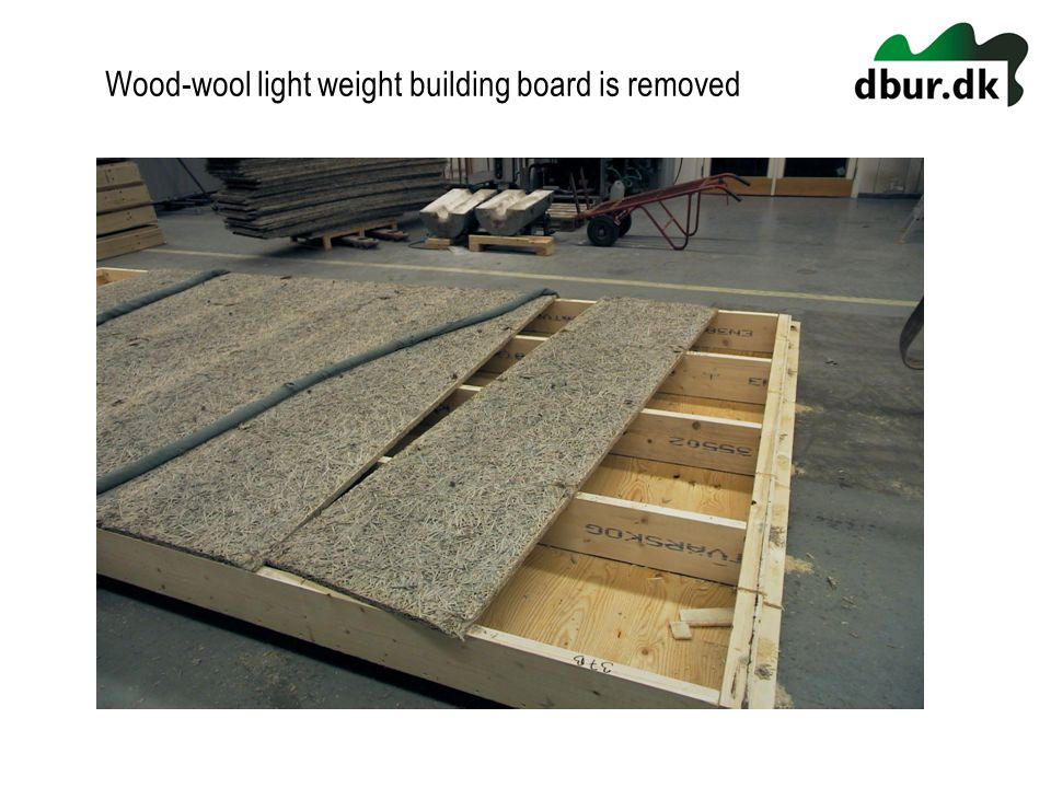 Wood-wool light weight building board is removed