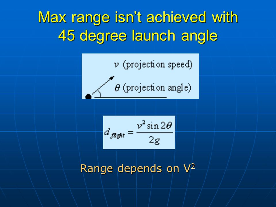 Launching from above ground level h  2 m h = 2m, g = 9.8m/s 2, v = 14m/s reduce g or increase h or v by 1% increases range by (20, 2, 40) cm