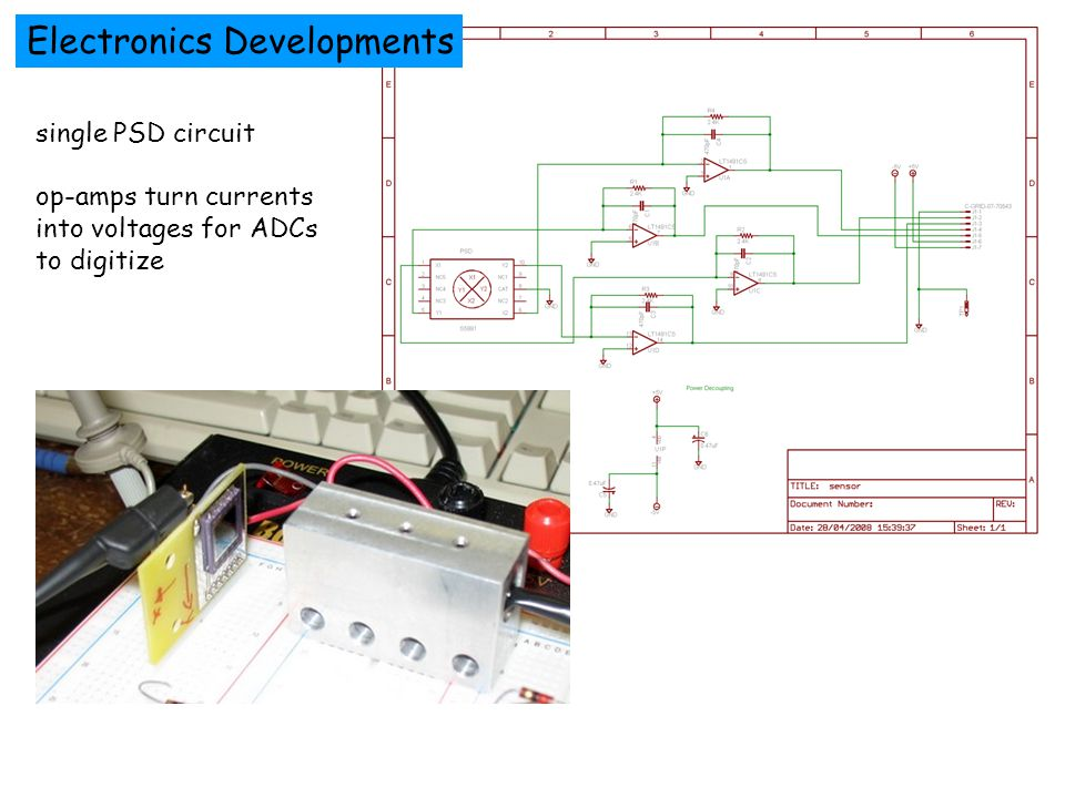 Electronics Developments single PSD circuit op-amps turn currents into voltages for ADCs to digitize