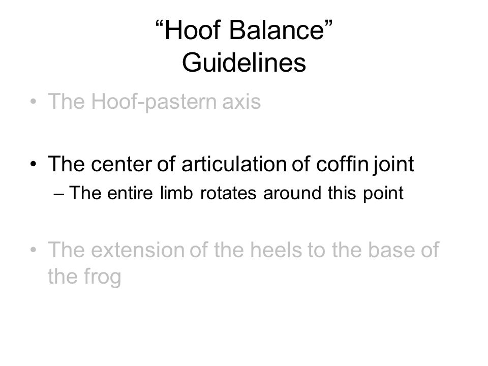 """Hoof Balance"" Guidelines The Hoof-pastern axis The center of articulation of coffin joint –The entire limb rotates around this point The extension of"