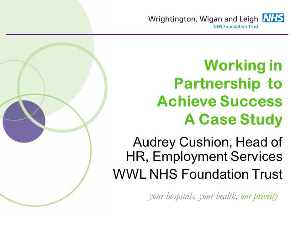your hospitals, your health, our priority Working in Partnership to Achieve Success A Case Study Audrey Cushion, Head of HR, Employment Services WWL NHS Foundation Trust
