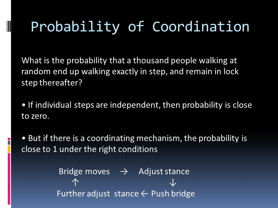 Probability of Coordination What is the probability that a thousand people walking at random end up walking exactly in step, and remain in lock step t