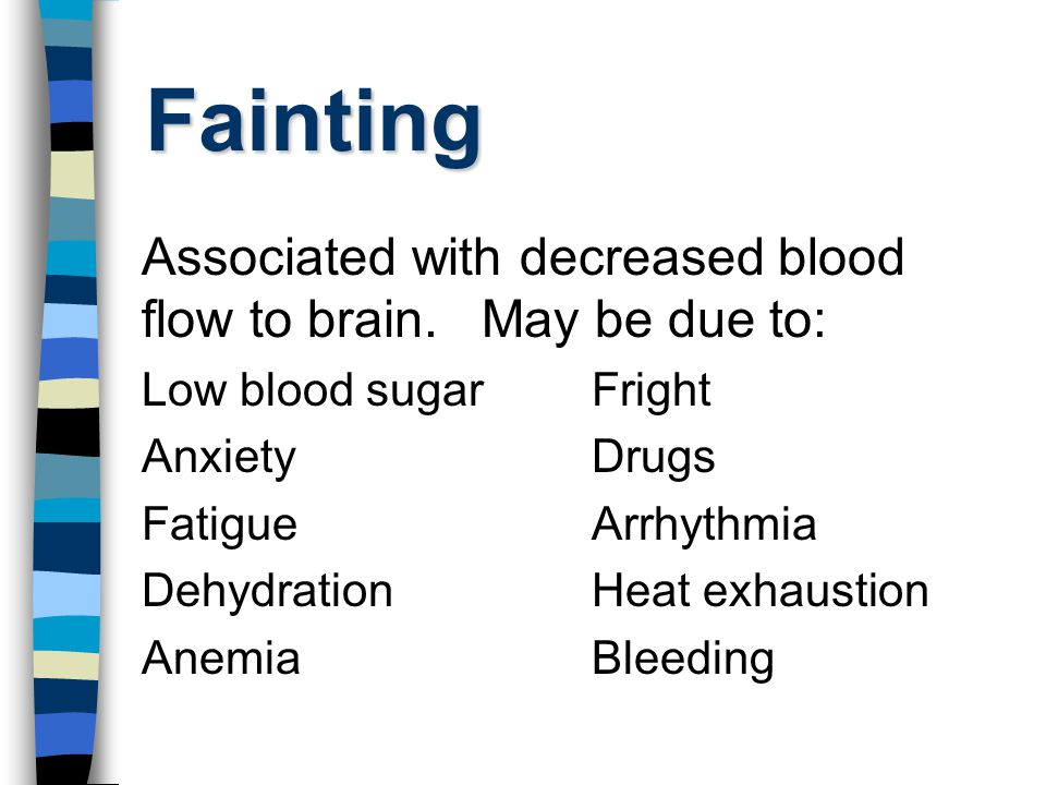 Fainting Associated with decreased blood flow to brain. May be due to: Low blood sugarFright AnxietyDrugs FatigueArrhythmia DehydrationHeat exhaustion