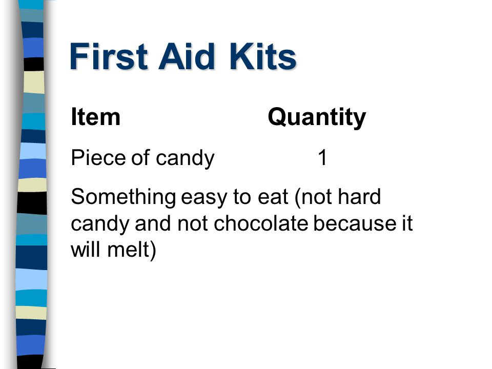 First Aid Kits ItemQuantity Piece of candy1 Something easy to eat (not hard candy and not chocolate because it will melt)