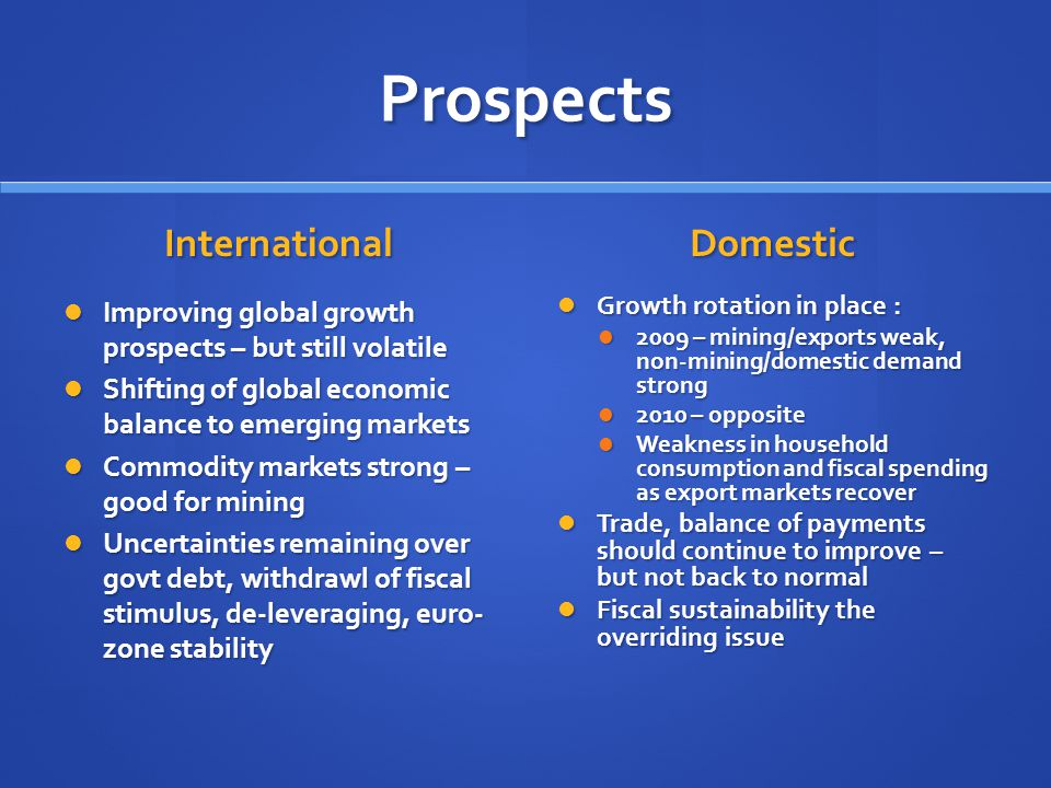 Prospects International Improving global growth prospects – but still volatile Shifting of global economic balance to emerging markets Commodity markets strong – good for mining Uncertainties remaining over govt debt, withdrawl of fiscal stimulus, de-leveraging, euro- zone stability Domestic Growth rotation in place : 2009 – mining/exports weak, non-mining/domestic demand strong 2010 – opposite Weakness in household consumption and fiscal spending as export markets recover Trade, balance of payments should continue to improve – but not back to normal Fiscal sustainability the overriding issue