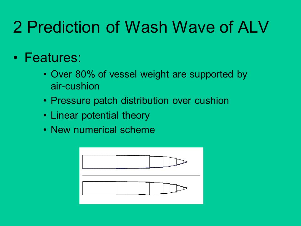 2 Prediction of Wash Wave of ALV Features: Over 80% of vessel weight are supported by air-cushion Pressure patch distribution over cushion Linear pote