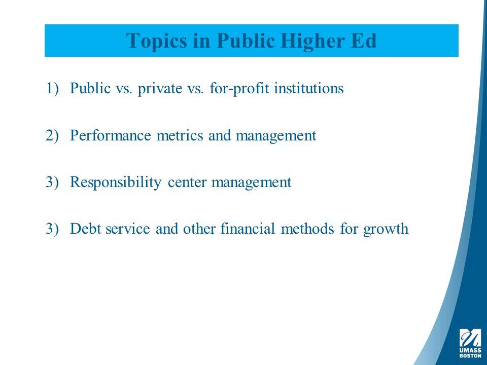 Topics in Public Higher Ed 1)Public vs. private vs.