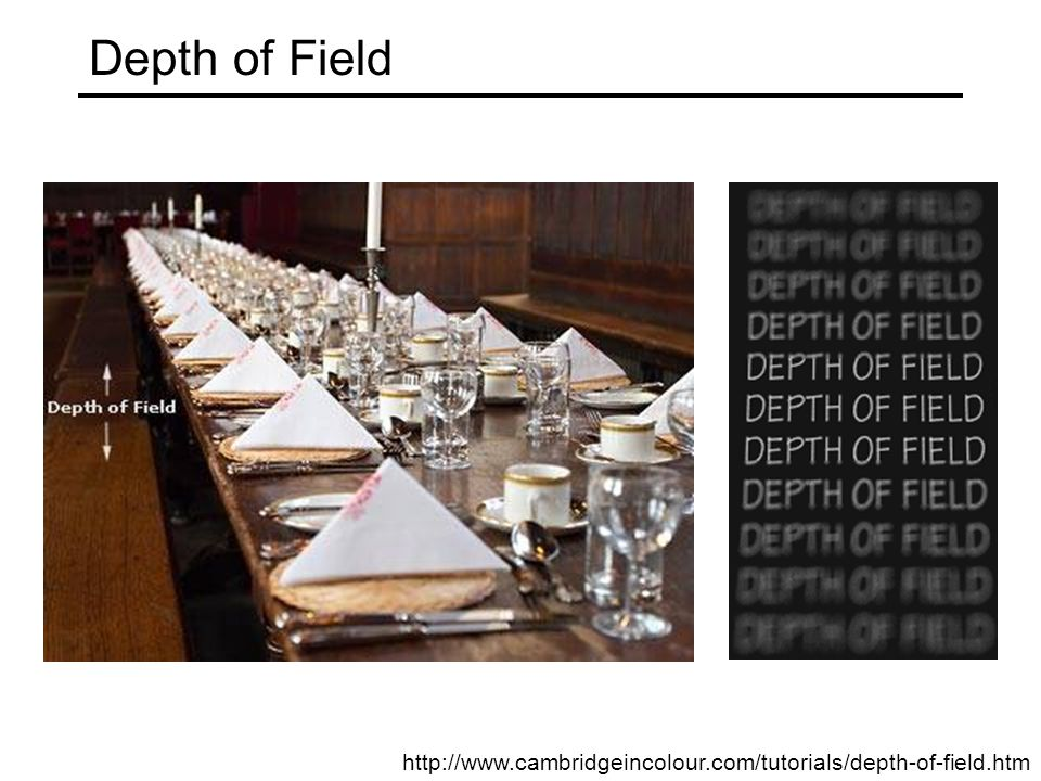 Depth of Field http://www.cambridgeincolour.com/tutorials/depth-of-field.htm
