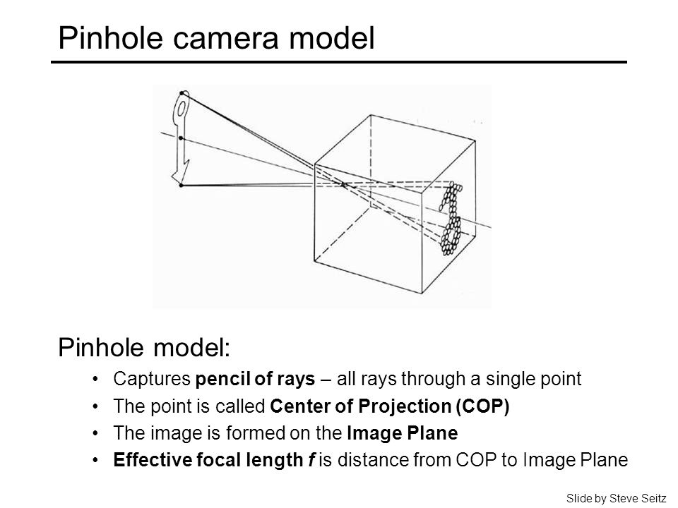 Pinhole camera model Pinhole model: Captures pencil of rays – all rays through a single point The point is called Center of Projection (COP) The image is formed on the Image Plane Effective focal length f is distance from COP to Image Plane Slide by Steve Seitz