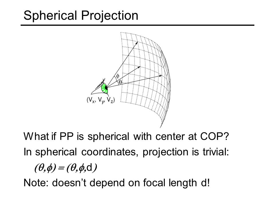 Spherical Projection What if PP is spherical with center at COP.