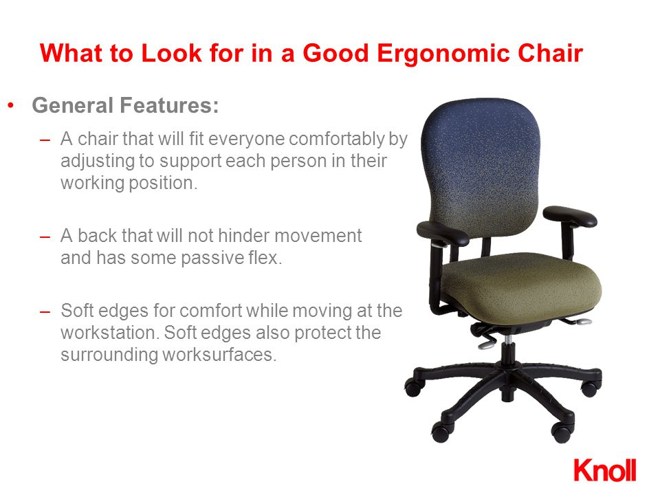 –A chair that will fit everyone comfortably by adjusting to support each person in their working position. –A back that will not hinder movement and h