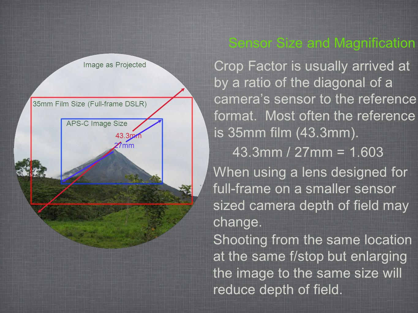 Sensor Size and Magnification (Continued) 35mm Film Size (Full-frame DSLR) Image as Projected APS-C Image Size However, similar framing of the image will provide more depth of field with the smaller sensor.