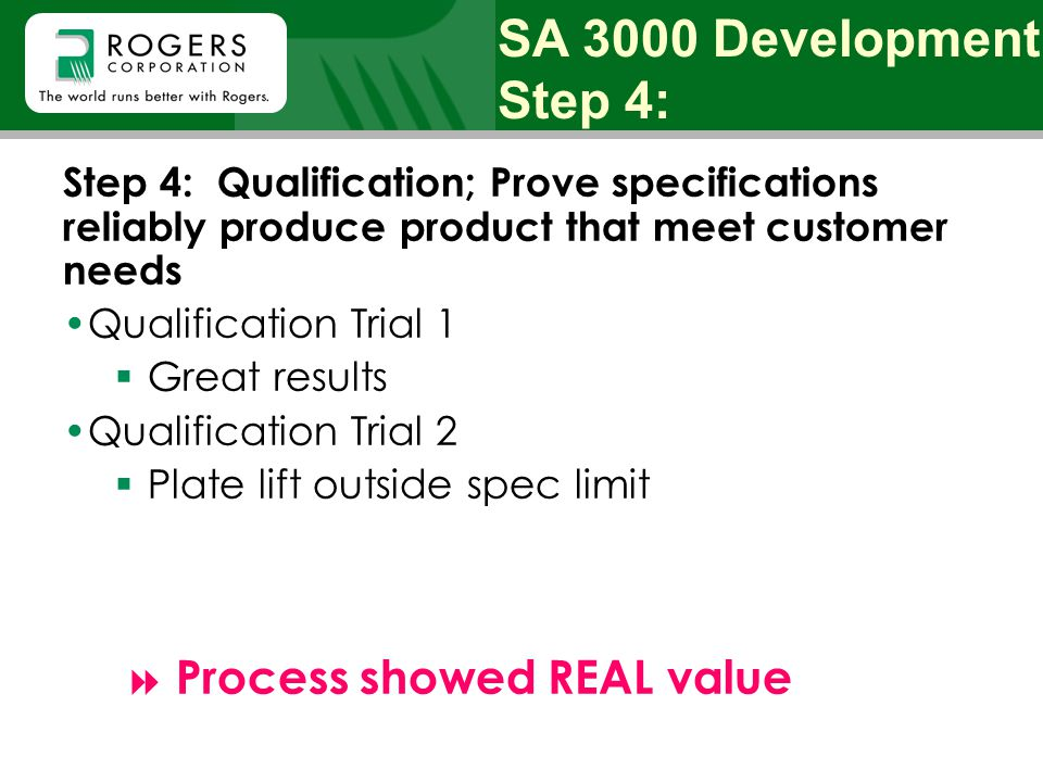 Step 4: Qualification; Prove specifications reliably produce product that meet customer needs Qualification Trial 1  Great results Qualification Tria