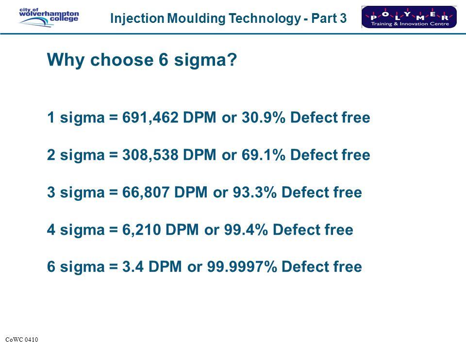 Injection Moulding Technology - Part 3 CoWC 0410 Normal distribution curves x 6 x std dev (6 Sigma) = 99.9997%