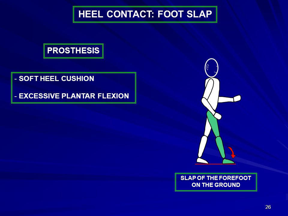 26 - SOFT HEEL CUSHION - EXCESSIVE PLANTAR FLEXION PROSTHESIS SLAP OF THE FOREFOOT ON THE GROUND HEEL CONTACT: FOOT SLAP