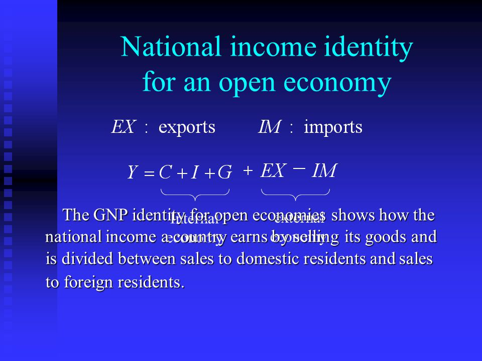 National income identity for an open economy Internal economy external economy The GNP identity for open economies shows how the national income a country earns by selling its goods and is divided between sales to domestic residents and sales to foreign residents.