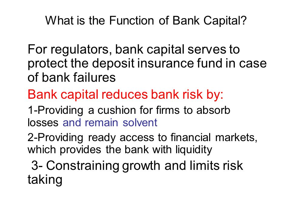 What is the Function of Bank Capital.