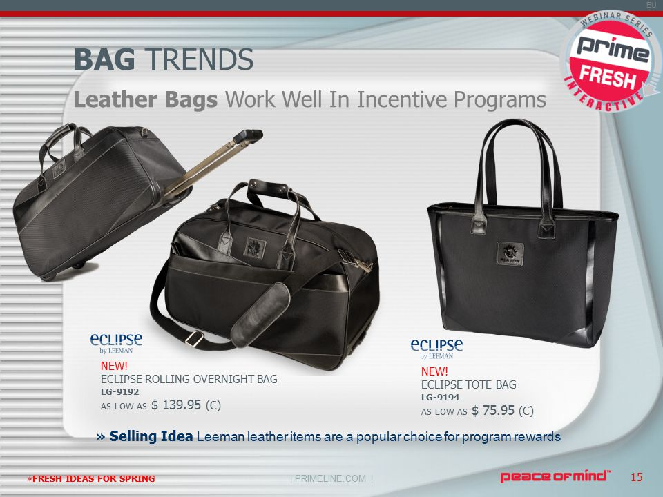 | PRIMELINE.COM | EU »FRESH IDEAS FOR SPRING 15 Leather Bags Work Well In Incentive Programs BAG TRENDS NEW.