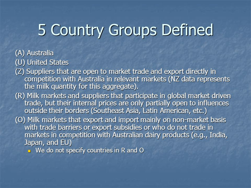 Modeling Approach: Trade in Milk Components Manufacturing capacity is not fixed to specific products over the 5-10 year horizon for AUS-FTA implementation Manufacturing capacity is not fixed to specific products over the 5-10 year horizon for AUS-FTA implementation We model derived demand and supply for milk components We model derived demand and supply for milk components Fat Fat Solids-not-fat (SNF) Solids-not-fat (SNF) Other aggregations possible (protein) Other aggregations possible (protein)