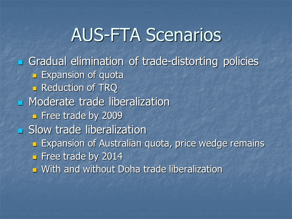 AUS-FTA Scenarios Gradual elimination of trade-distorting policies Gradual elimination of trade-distorting policies Expansion of quota Expansion of quota Reduction of TRQ Reduction of TRQ Moderate trade liberalization Moderate trade liberalization Free trade by 2009 Free trade by 2009 Slow trade liberalization Slow trade liberalization Expansion of Australian quota, price wedge remains Expansion of Australian quota, price wedge remains Free trade by 2014 Free trade by 2014 With and without Doha trade liberalization With and without Doha trade liberalization