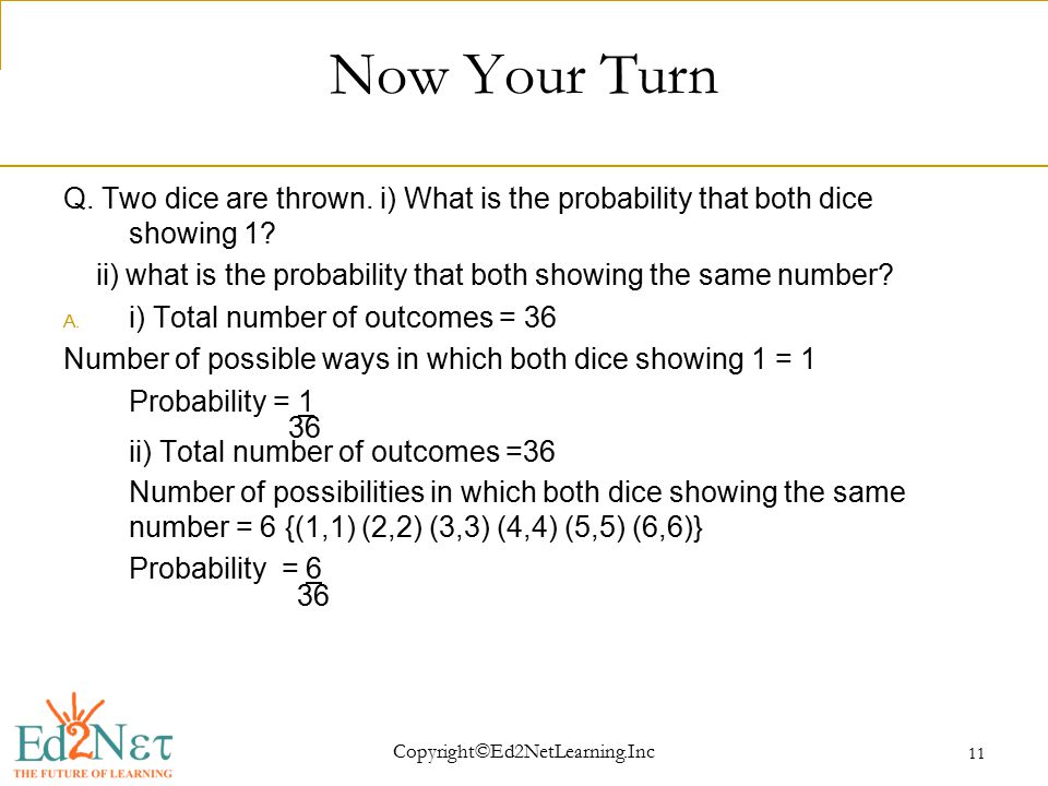 Copyright©Ed2NetLearning.Inc 11 Now Your Turn Q. Two dice are thrown.