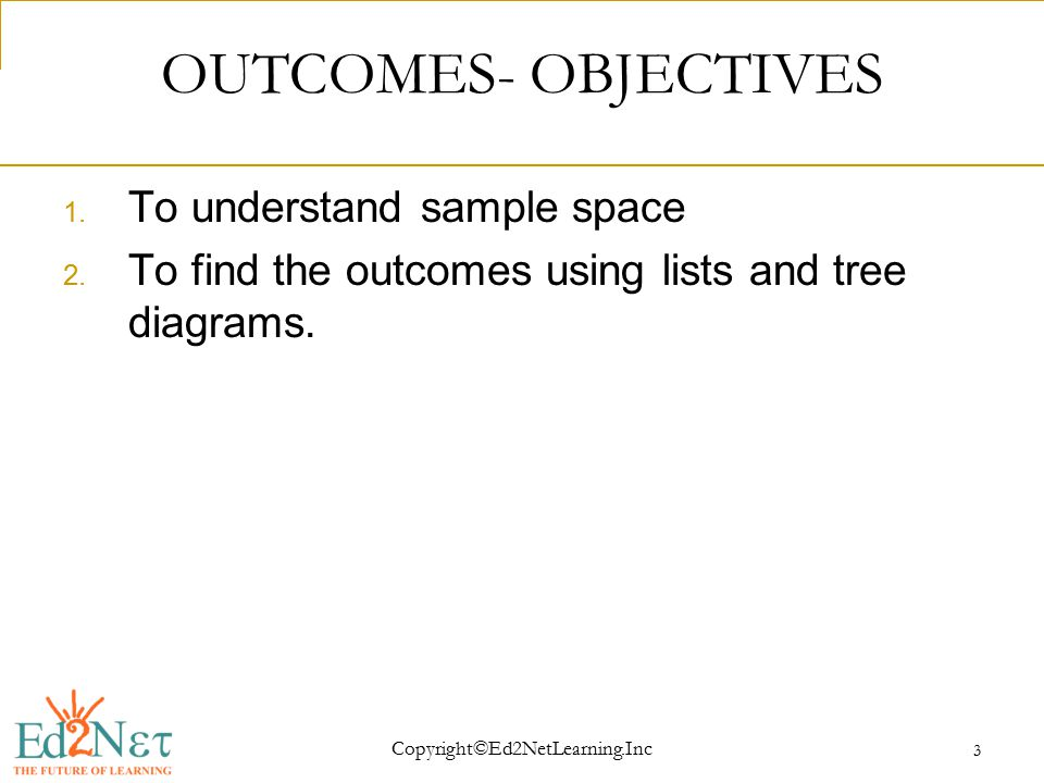 Copyright©Ed2NetLearning.Inc 3 OUTCOMES- OBJECTIVES 1.