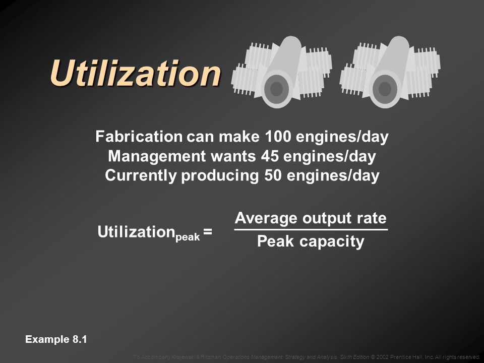 Utilization Fabrication can make 100 engines/day Management wants 45 engines/day Currently producing 50 engines/day Example 8.1