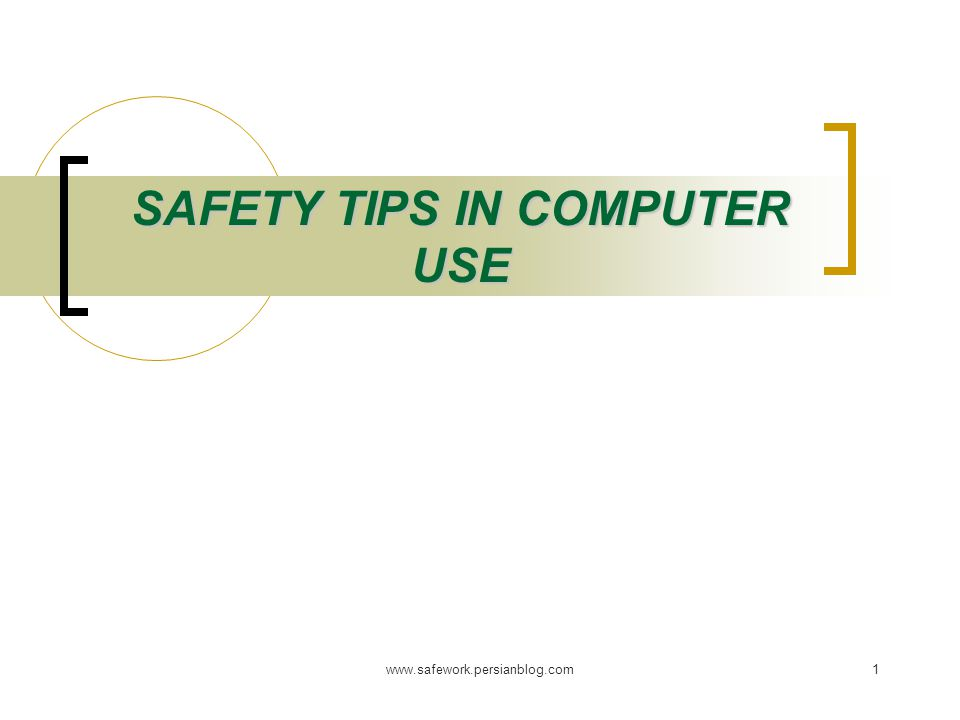 www.safework.persianblog.com1 SAFETY TIPS IN COMPUTER USE