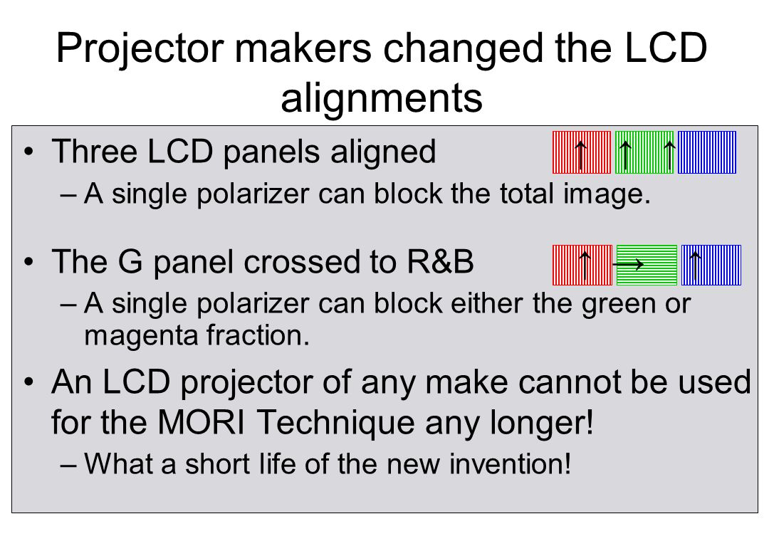 MORI Technique did not work with new projectors.