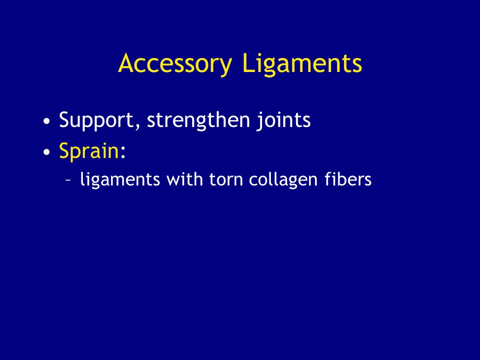 Accessory Ligaments Support, strengthen joints Sprain: –ligaments with torn collagen fibers