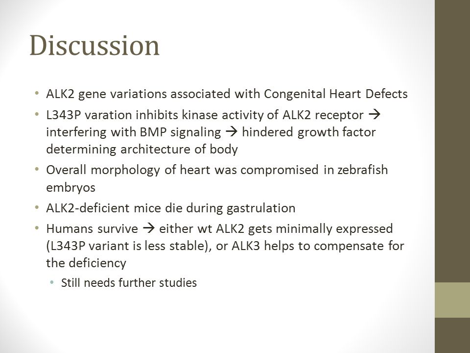 Discussion ALK2 gene variations associated with Congenital Heart Defects L343P varation inhibits kinase activity of ALK2 receptor  interfering with BMP signaling  hindered growth factor determining architecture of body Overall morphology of heart was compromised in zebrafish embryos ALK2-deficient mice die during gastrulation Humans survive  either wt ALK2 gets minimally expressed (L343P variant is less stable), or ALK3 helps to compensate for the deficiency Still needs further studies