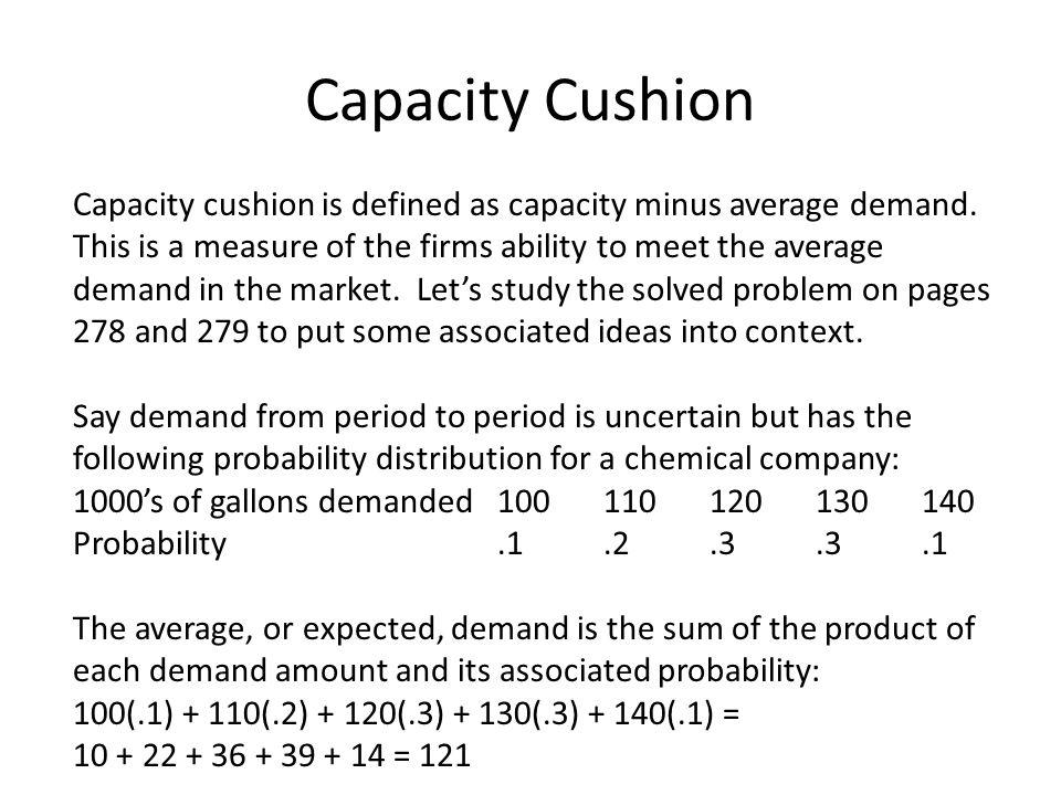 Capacity Cushion Capacity cushion is defined as capacity minus average demand.