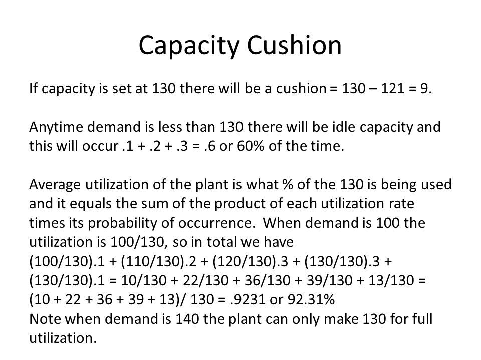 Capacity Cushion If capacity is set at 130 there will be a cushion = 130 – 121 = 9.