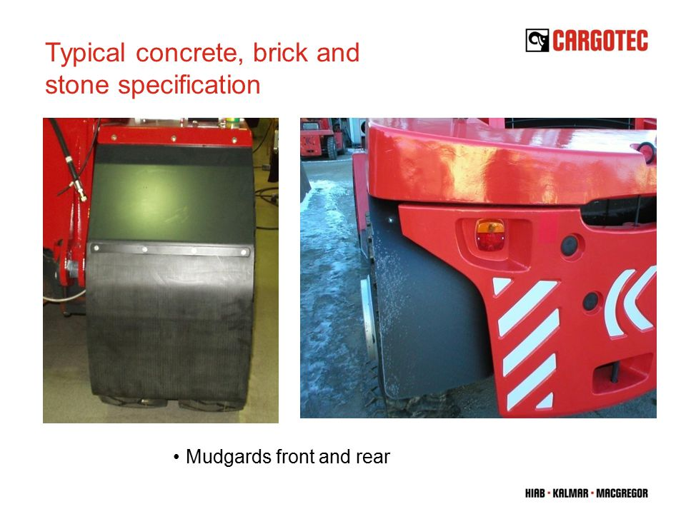 Mudgards front and rear Typical concrete, brick and stone specification