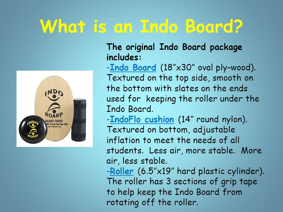 Indo Board Set-Up -Have mat, carpet, or padding at each station.