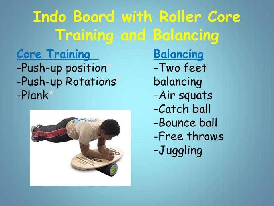 Indo Board with Roller Tricks -Jump onto balanced board.